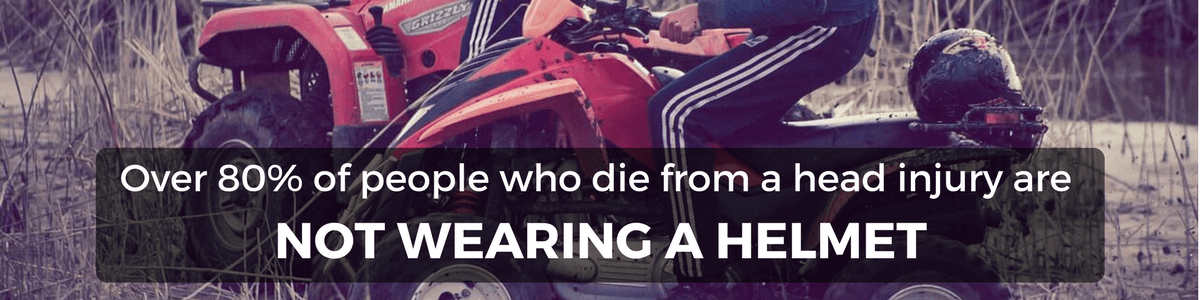 Quad bike injuries- over 80 percent of people who die from a head injury are not wearing a helmet