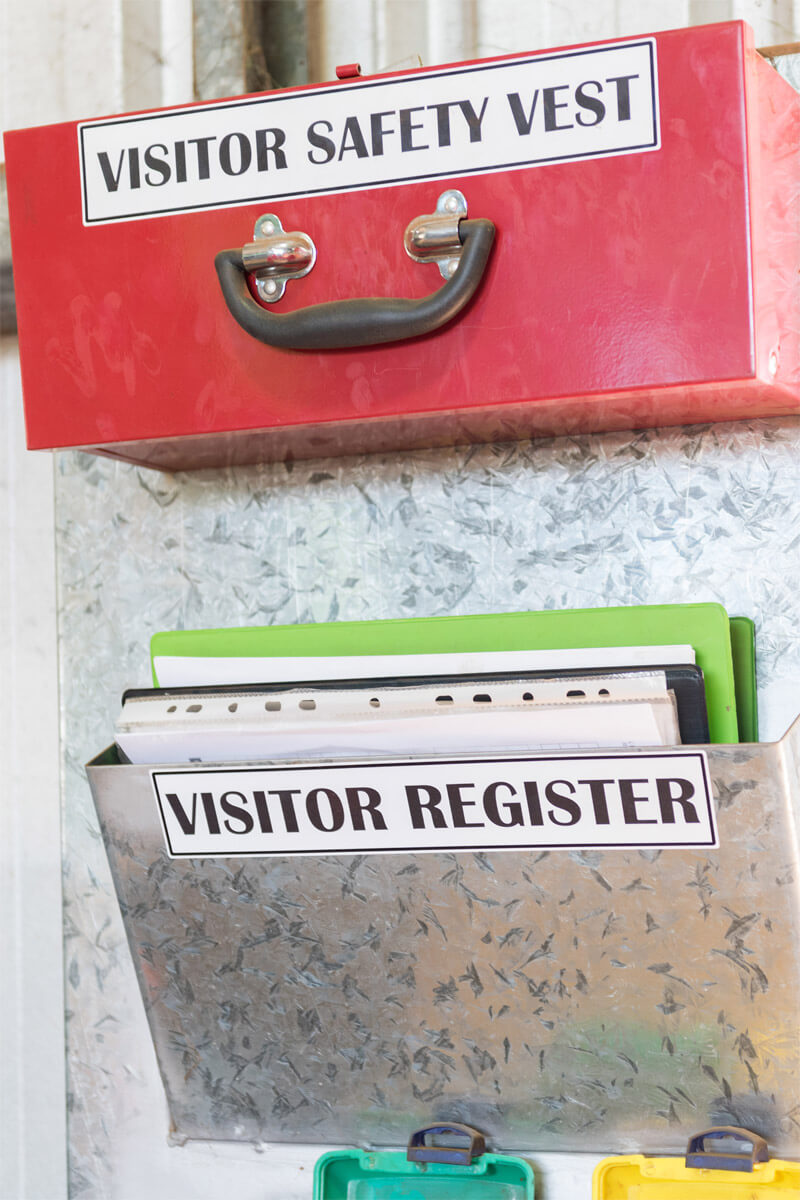visitor register and visitor safety vest