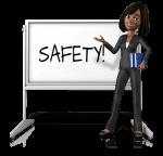 cartoon lady showing Safety Training on blackboard