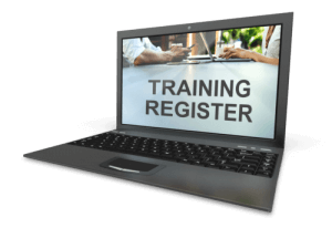 Image of Training register displayed on a laptop for online compliance compliance training